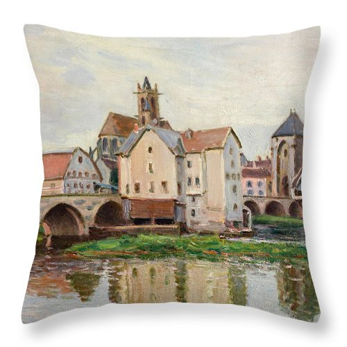 Alfred Sisley Throw Pillow featuring the painting Moret-sur-loing. Morning by Alfred Sisley