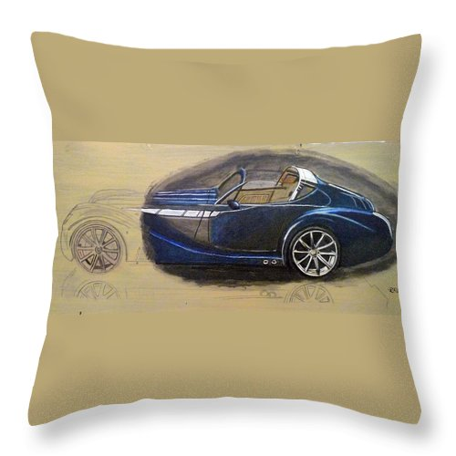 Cars Throw Pillow featuring the painting Morgan Aero by Richard Le Page