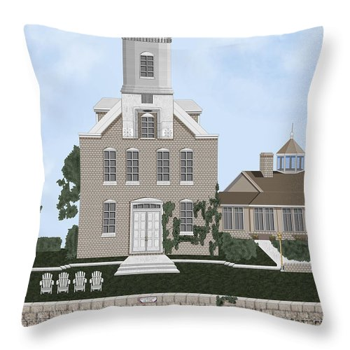 Lighthouse Throw Pillow featuring the painting Morgan Point Mystic Harbor Conn by Anne Norskog