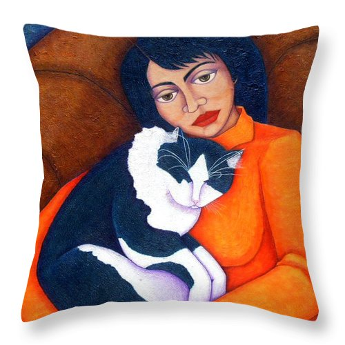Woman Throw Pillow featuring the painting Morgana With Woman by Madalena Lobao-Tello
