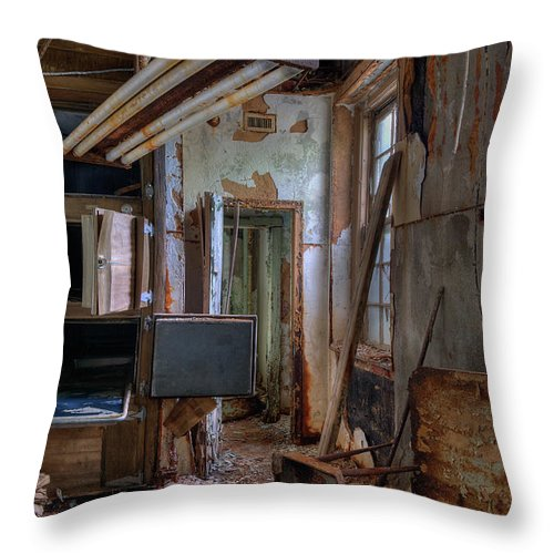 Asylum Throw Pillow featuring the photograph Morgue by Murray Bloom