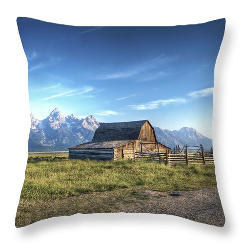 Hdr Mormon Row Barns Grand Tetons Throw Pillow featuring the photograph Mormon Row Hdr by Mark Andrews