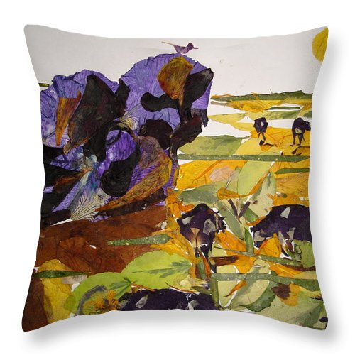 Glory Of Morning Throw Pillow featuring the mixed media Morning Activities by Basant Soni