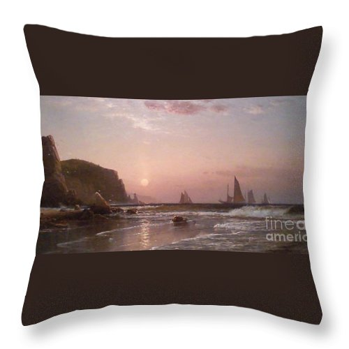 Morning_at_grand_manan_by_alfred_thompson_bricher Throw Pillow featuring the painting Morning by MotionAge Designs
