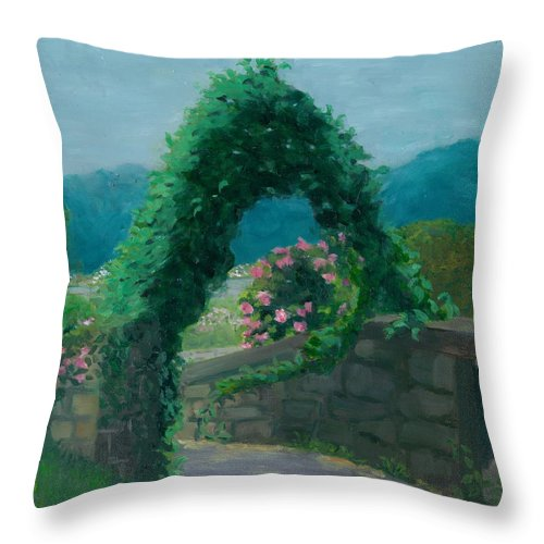 Landscape Throw Pillow featuring the painting Morning At Harkness Park by Paula Emery