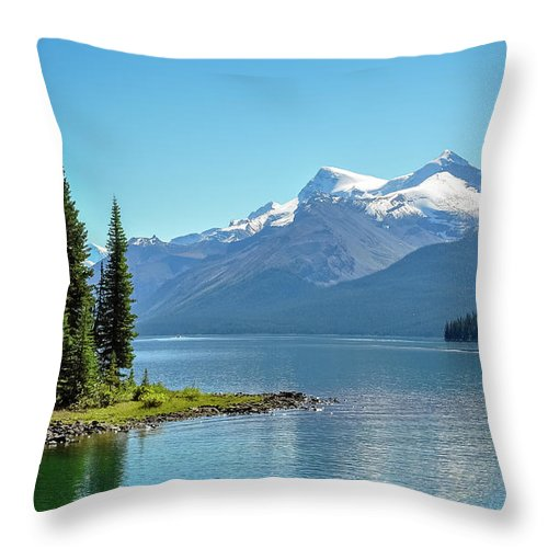 Alberta Throw Pillow featuring the photograph Morning At Lake Maligne, Canada by Daniela Constantinescu
