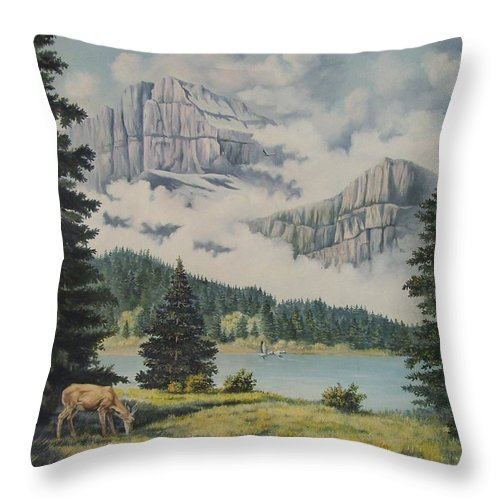 Glacier Nat. Park Throw Pillow featuring the painting Morning At The Glacier by Wanda Dansereau