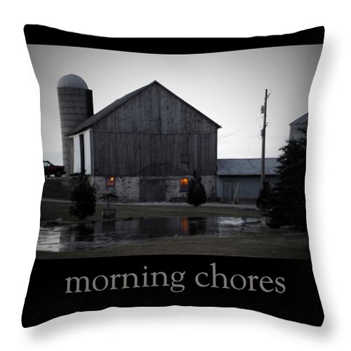 Poster Throw Pillow featuring the photograph Morning Chores by Tim Nyberg