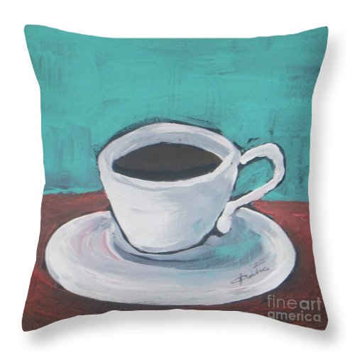 Abstract Throw Pillow featuring the painting Morning Coffee by Vesna Antic