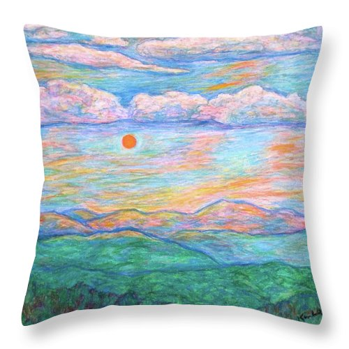 Sunrise Throw Pillow featuring the pastel Morning Color Dance by Kendall Kessler