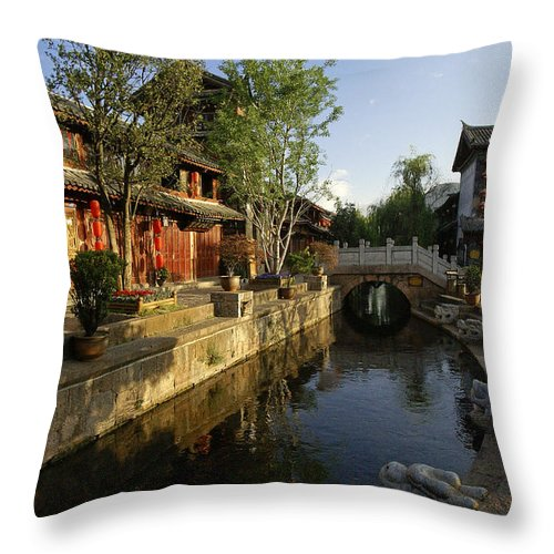 Asia Throw Pillow featuring the photograph Morning Comes to Lijiang Ancient Town by Michele Burgess