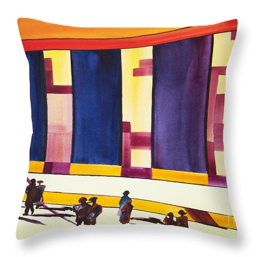 Figures Throw Pillow featuring the painting Morning Commute by JoAnn DePolo