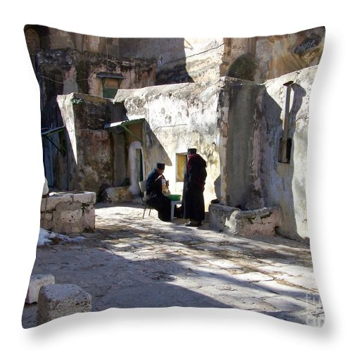 Jerusalem Throw Pillow featuring the photograph Morning Conversation by Kathy McClure