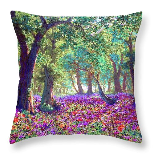 Sun Throw Pillow featuring the painting Morning Dew by Jane Small