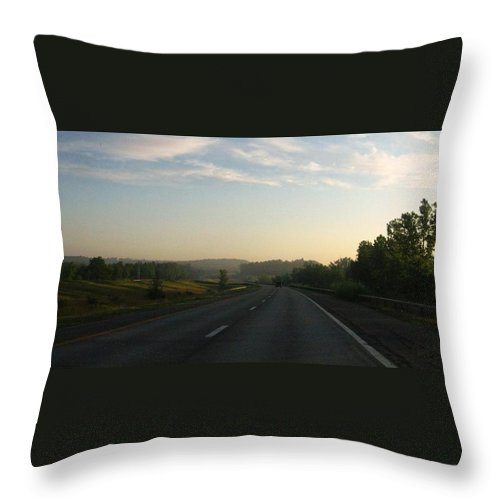 Landscape Throw Pillow featuring the photograph Morning Drive by Rhonda Barrett