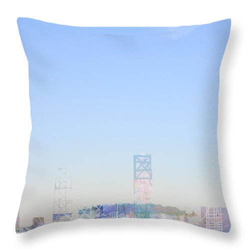 Blue Sky Plane Fly Flight Urban Flying Takeoff Bird Throw Pillow featuring the digital art Morning Flight by Andy Mercer