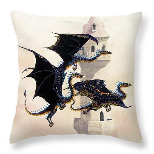 Dragon Throw Pillow featuring the painting Morning Flight by Stanley Morrison