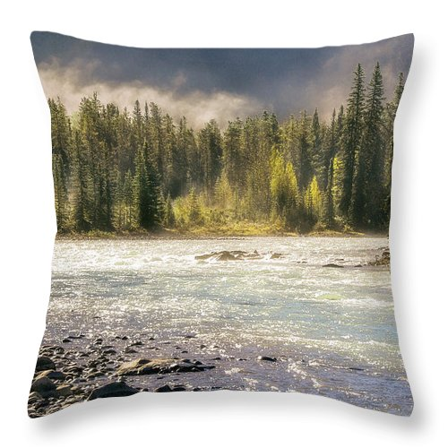Alberta Throw Pillow featuring the photograph Morning Fog At Athabasca River by Daniela Constantinescu