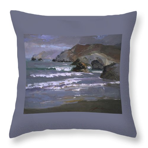 Seascape Throw Pillow featuring the painting Morning Fog Shark Harbor - Catalina Island by Betty Jean Billups
