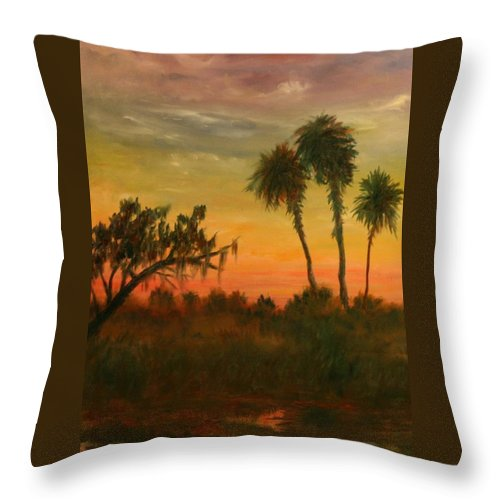 Palm Trees; Tropical; Marsh; Sunrise Throw Pillow featuring the painting Morning Fog by Ben Kiger