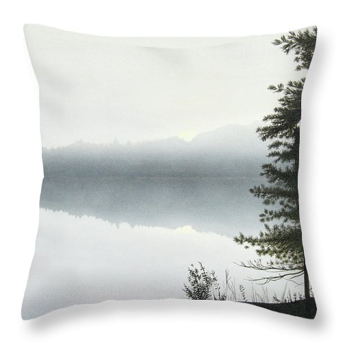 Landscapes Throw Pillow featuring the painting Morning Fog by Kenneth M Kirsch