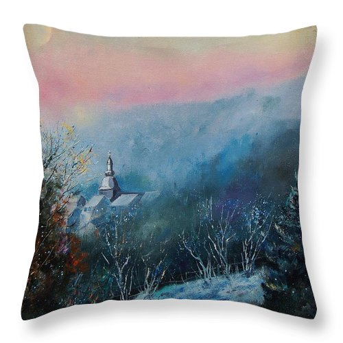 Winter Throw Pillow featuring the painting Morning Frost by Pol Ledent