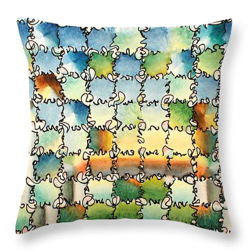 Watercolor Throw Pillow featuring the painting Morning Gateway by Dave Martsolf