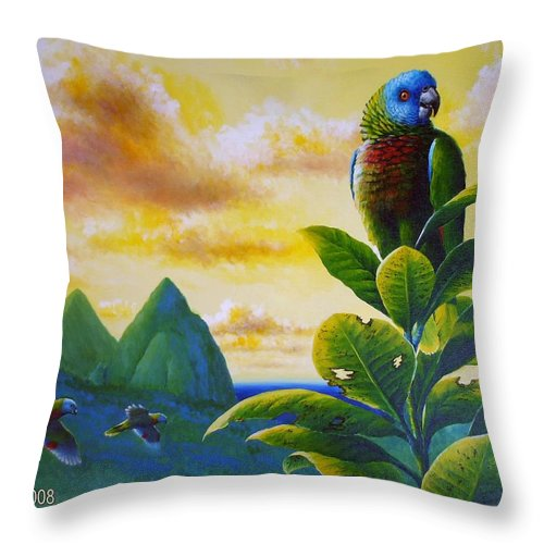 Chris Cox Throw Pillow featuring the painting Morning Glory - St. Lucia Parrots by Christopher Cox