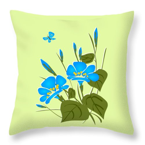 Plant Throw Pillow featuring the digital art Morning Glory by Anastasiya Malakhova
