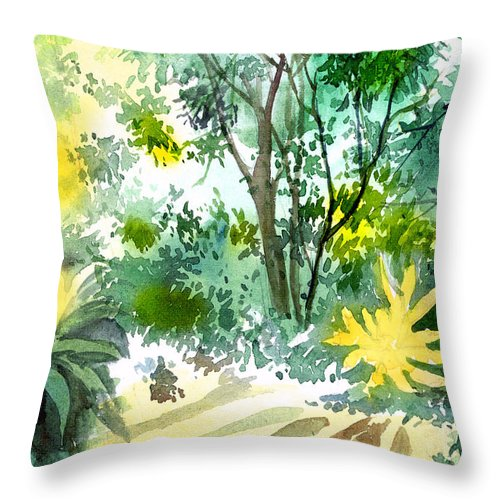 Landscape Throw Pillow featuring the painting Morning Glory by Anil Nene