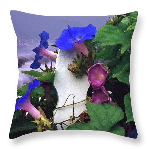 Flower Throw Pillow featuring the digital art Morning Glory by Steve Karol