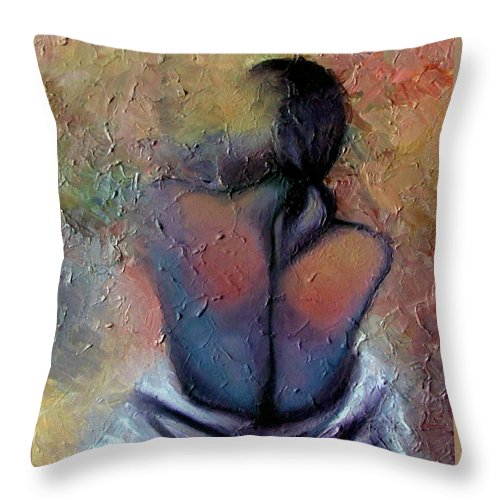 Abstract Throw Pillow featuring the painting Morning Glow by Elizabeth Lisy Figueroa