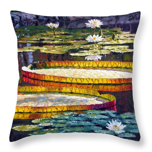 Water Lilies Throw Pillow featuring the painting Morning Glow by John Lautermilch