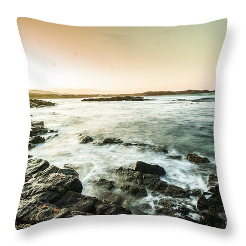 Bay Throw Pillow featuring the photograph Morning Glow by Jorgo Photography - Wall Art Gallery