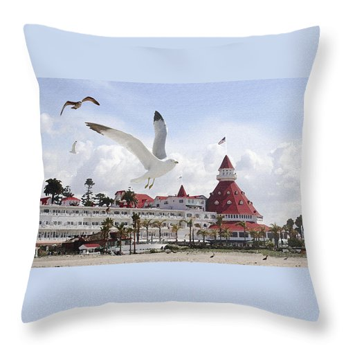 Beach Throw Pillow featuring the photograph Morning Gulls On Coronado by Margie Wildblood