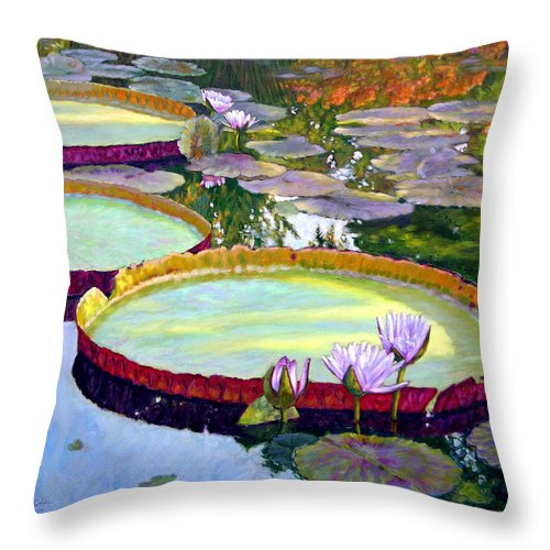 Garden Pond Throw Pillow featuring the painting Morning Highlights by John Lautermilch