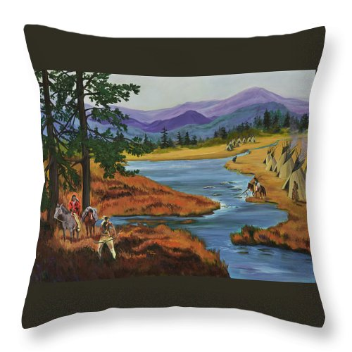 Southwestern Art Throw Pillow featuring the painting Morning Hunt by Donna Drake