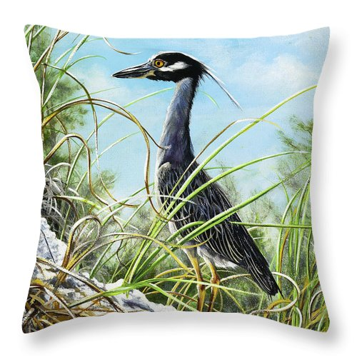 Bird Throw Pillow featuring the painting Morning Hunt by Joan Garcia