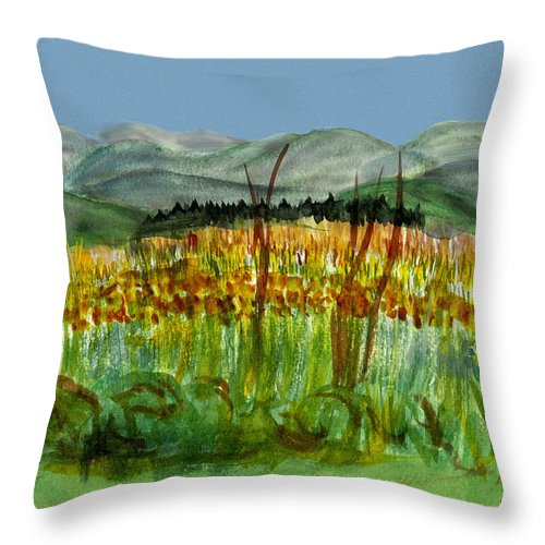 Batrton Vt Throw Pillow featuring the painting Morning In Backyard At Barton by Donna Walsh