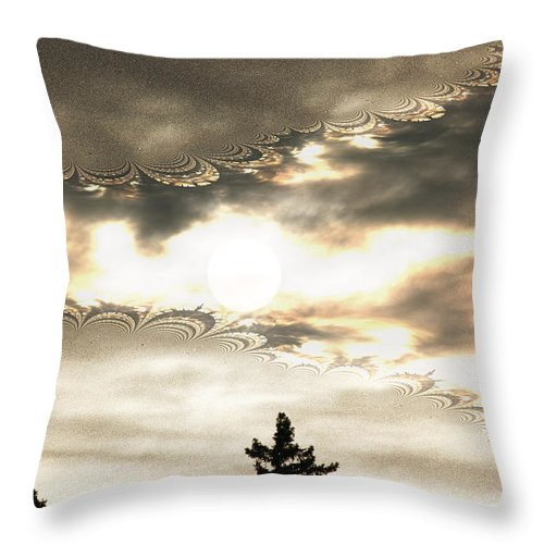 Moon Sky Trees Abstract Forest Wild Portal Clouds Gold Fractal Throw Pillow featuring the digital art Morning Moon by Andrea Lawrence