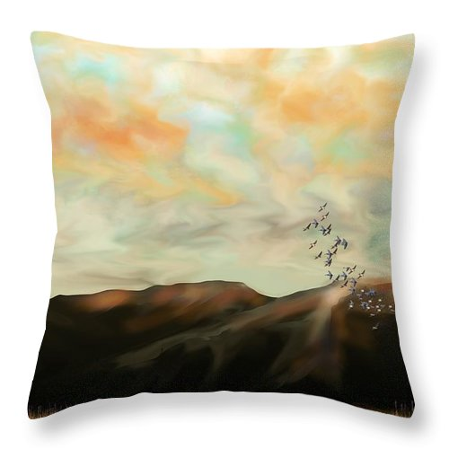 New Mexico Throw Pillow featuring the digital art Morning New Mexico II by Kerry Beverly