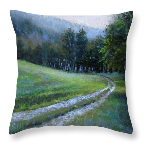 Landscape Throw Pillow featuring the pastel Morning On Blue Mountain Road by Susan Jenkins