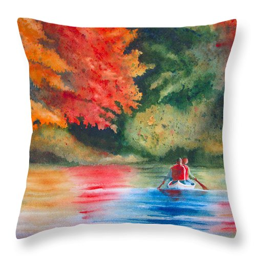 Lake Throw Pillow featuring the painting Morning On The Lake by Karen Stark