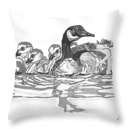 Throw Pillow featuring the painting Morning Outing by Dancing Pines Artworks