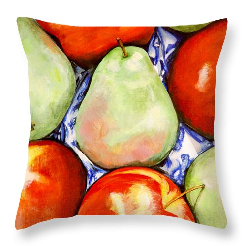 Apples Throw Pillow featuring the painting Morning Pears and Apples by Mary Chant