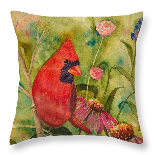 Birds Throw Pillow featuring the painting Morning Perch In Red by Renee Chastant