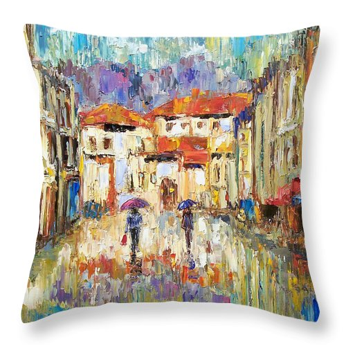 Landscape Throw Pillow featuring the painting Morning Rain by Debra Hurd