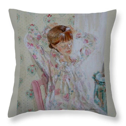 Morning Throw Pillow featuring the painting Morning Ritual by Jean Blackmer