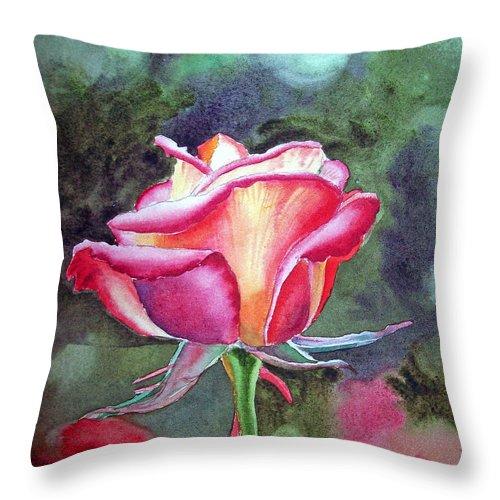 Rose Throw Pillow featuring the painting Morning Rose by Irina Sztukowski