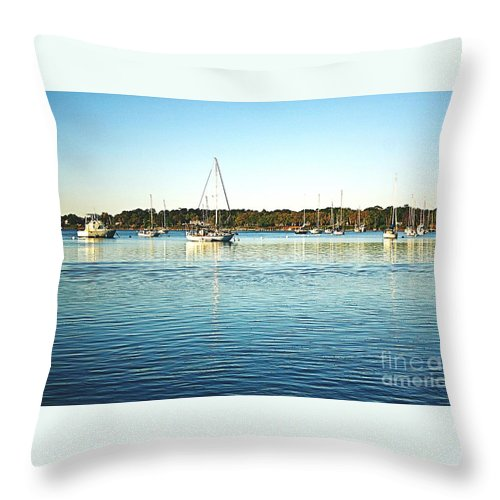 Boats Throw Pillow featuring the photograph Morning Sail by Ally Flowers
